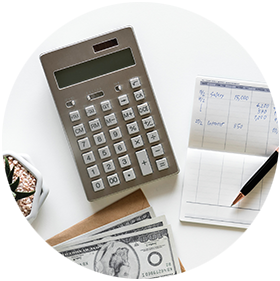 calculator with checkbook and cash